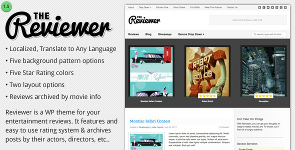 ThemeForest Reviewer WP Theme for Entertainment Reviews 333009