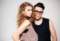 Sexy man and woman doing a fashion photo shoot