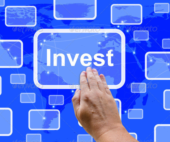 Invest Word Button Representing Saving Stocks And Interest - Stock Photo - Images