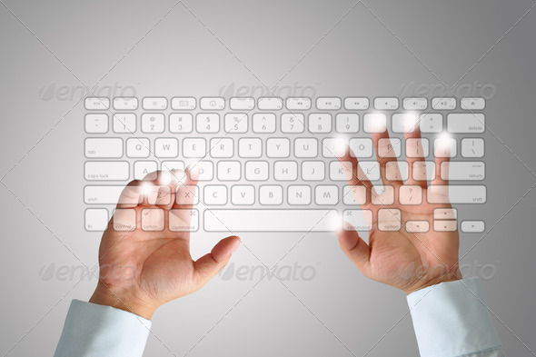 Hand on Keyboard - Stock Photo - Images
