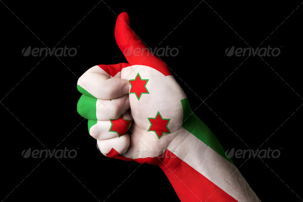 burundi national flag thumb up gesture for excellence and achiev - Stock Photo - Images