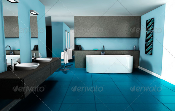 Interior Design Blue Bathroom - Stock Photo - Images