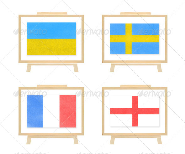 Football euro 2012 D group nations flag cork board - Stock Photo - Images