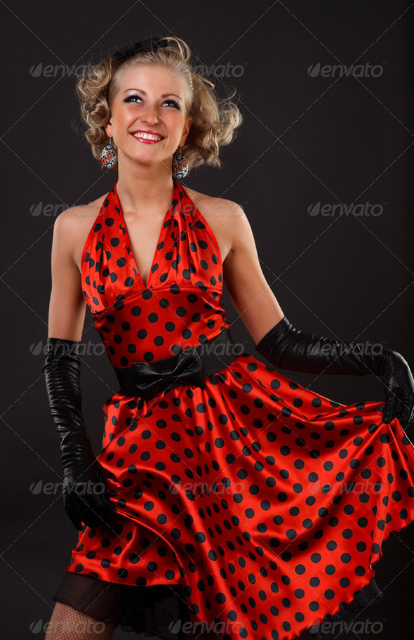 Girl in red. - Stock Photo - Images