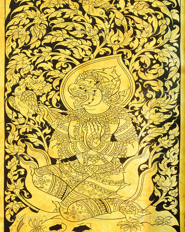 Thai painting on wood gold - Stock Photo - Images