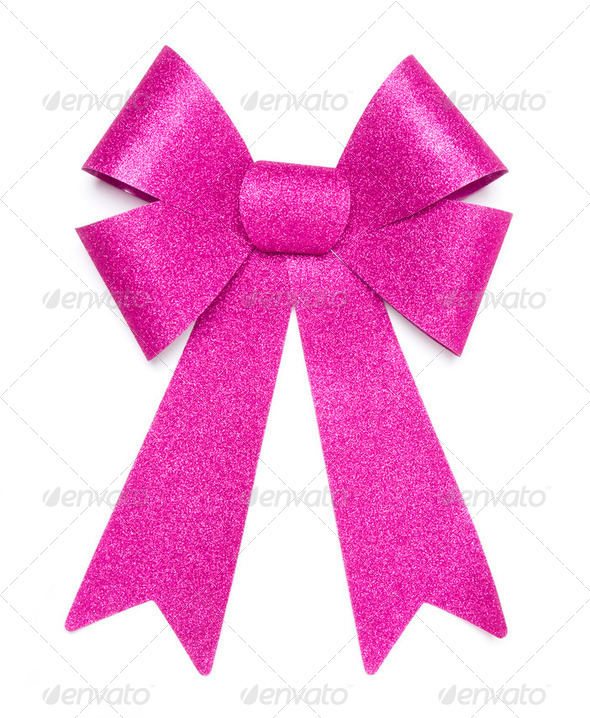Pink Glitter Bow With Hanging Ribbons Isolated on a White Background. - Stock Photo - Images