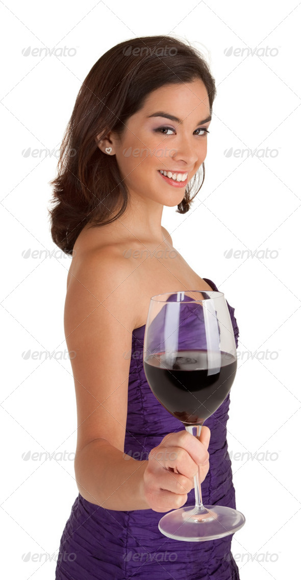 Woman Serving a Glass of Wine - Stock Photo - Images