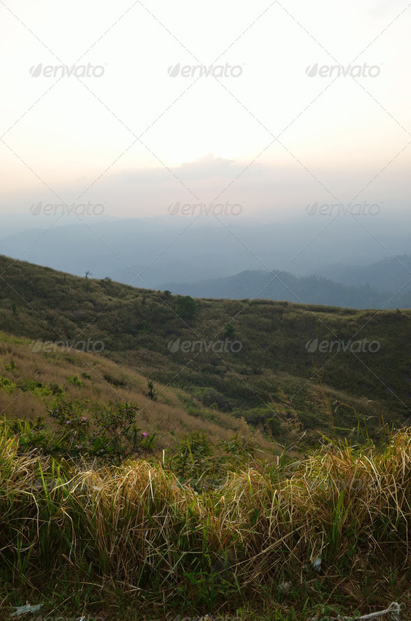 Mountain by green grass and cloudy blue sky - Stock Photo - Images