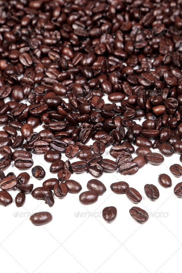 Arabica and robusta coffee beans on white background - Stock Photo - Images