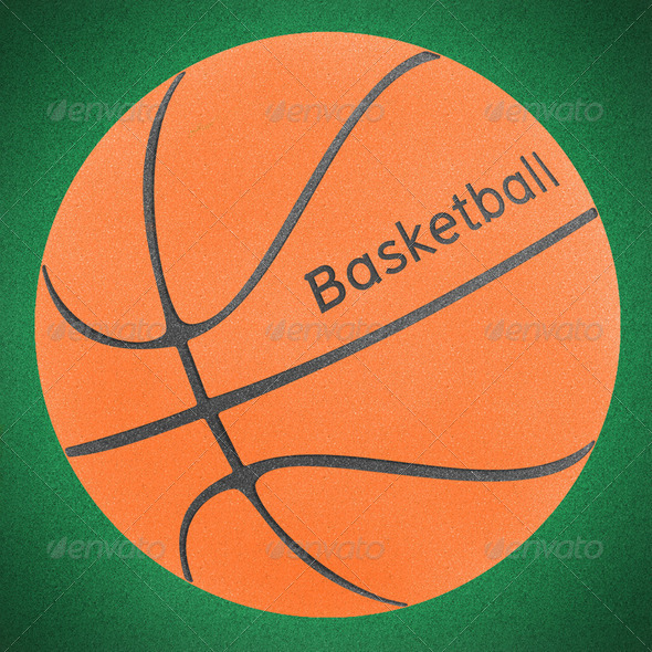Basketball ball green grass (clipping path) - Stock Photo - Images