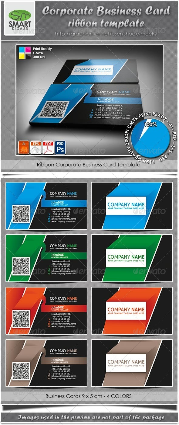 GraphicRiver Corporate Business Card Ribbon Template 3346729