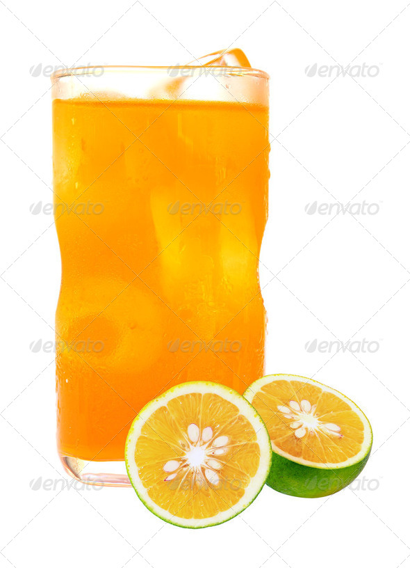 orange juice in glass and ice isolated on white background - Stock Photo - Images