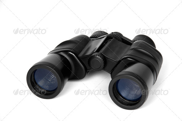 Binoculars, isolated on a white background - Stock Photo - Images