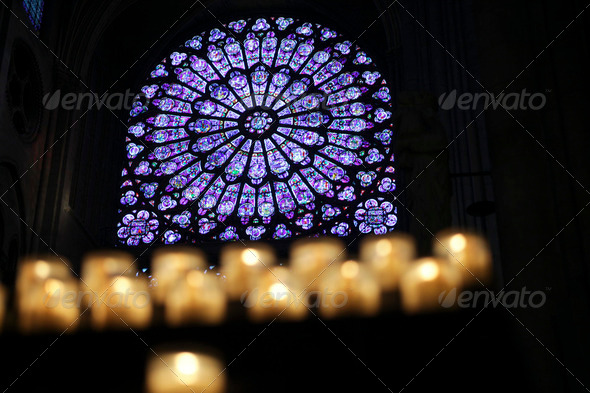 Notre Dame with candles - Stock Photo - Images