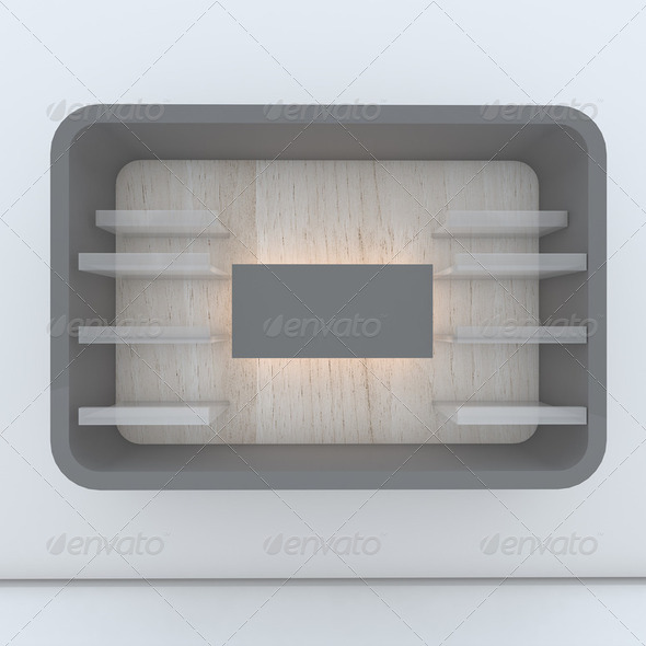 gray shelf with wall - Stock Photo - Images