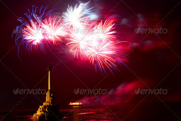 Salute, fireworks above the Sevastopol bay. - Stock Photo - Images