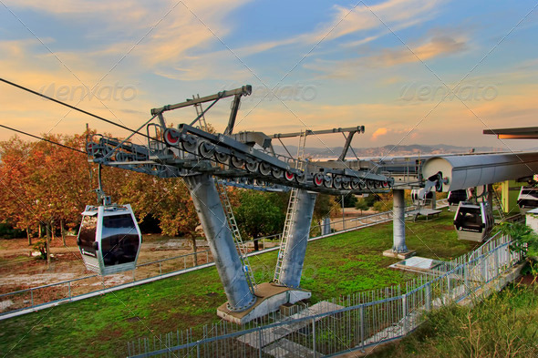 Cableway of Montjuic - Stock Photo - Images