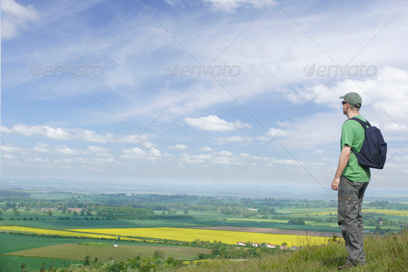 Man and Landscape - Stock Photo - Images