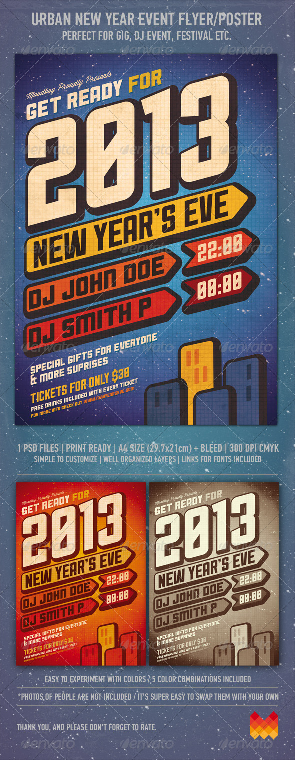GraphicRiver Urban New Year Party Flyer Poster 3347208