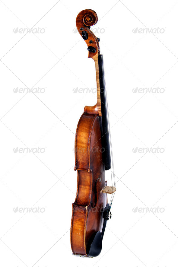 Old violin, isolated on a white background - Stock Photo - Images