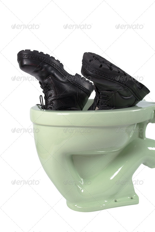 Men's shoes and light green toilet (isolated - Stock Photo - Images