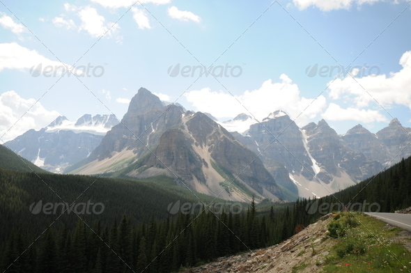 Canadian Rockies with peaks - Stock Photo - Images