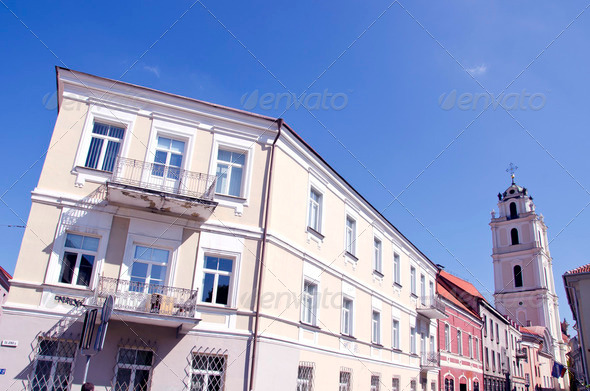 Vilnius old town street house and church - Stock Photo - Images