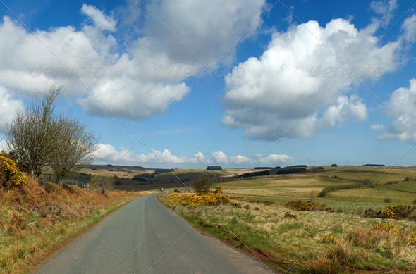 Narrow country road, Mynydd Epynt, Wales UK. - Stock Photo - Images
