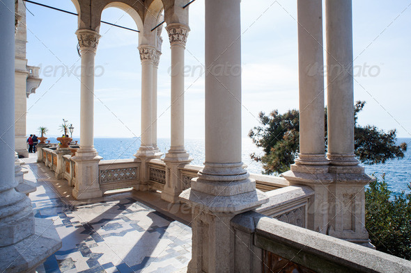 Columns, Miramare castle in Trieste  - Stock Photo - Images