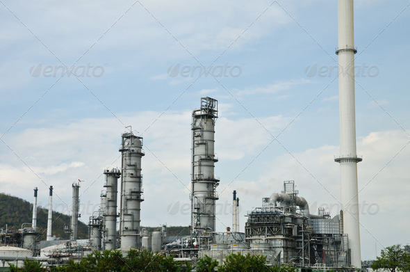 Oil purify plant with blue sky. - Stock Photo - Images