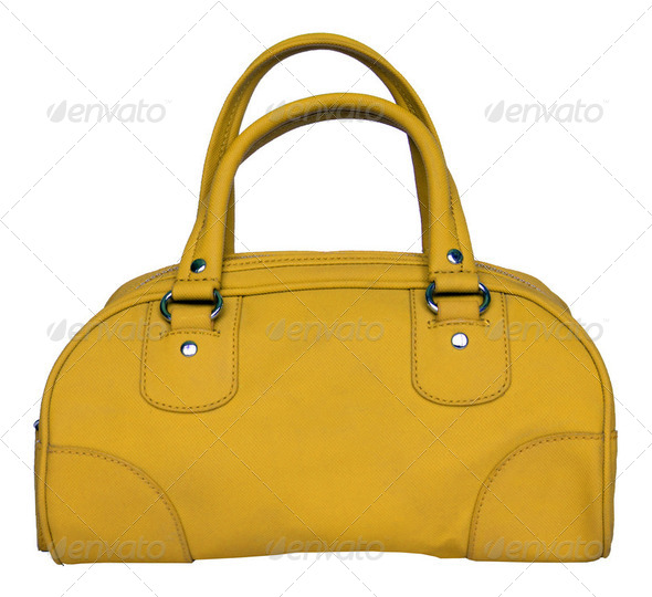 Yellow bag isolated on white - Stock Photo - Images