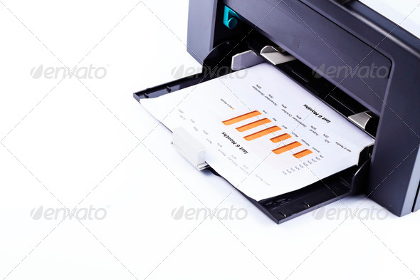 Printer printing business report - Stock Photo - Images