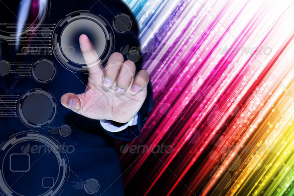 hand pushing a button on a touch screen interface - Stock Photo - Images