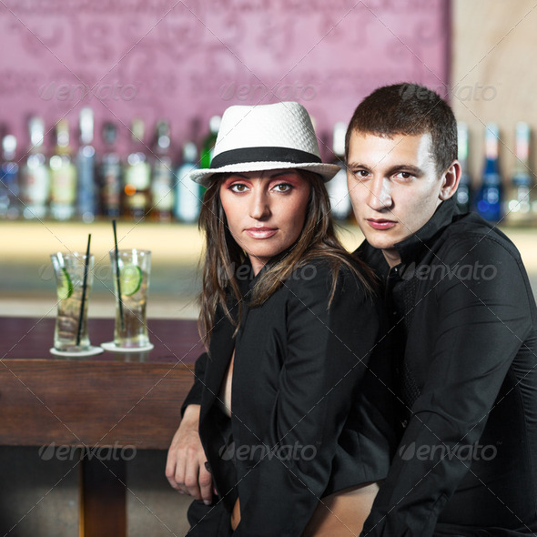 Couple in the bar - Stock Photo - Images