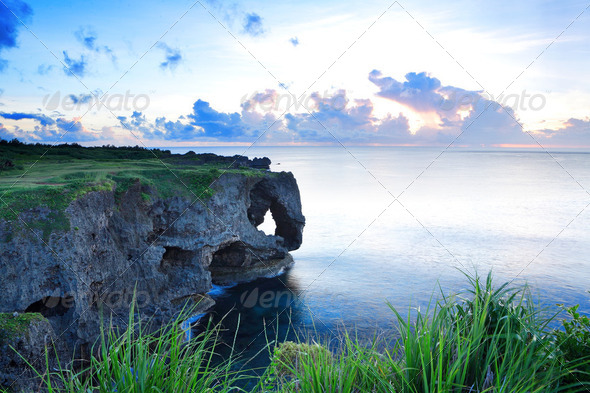 sunset on the rocks , in Okinawa , Manzamo - Stock Photo - Images