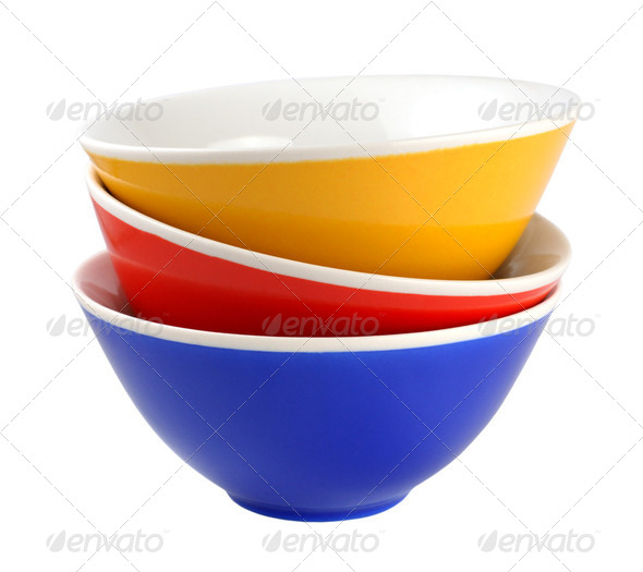 Pile of bowls isolated on white background - Stock Photo - Images