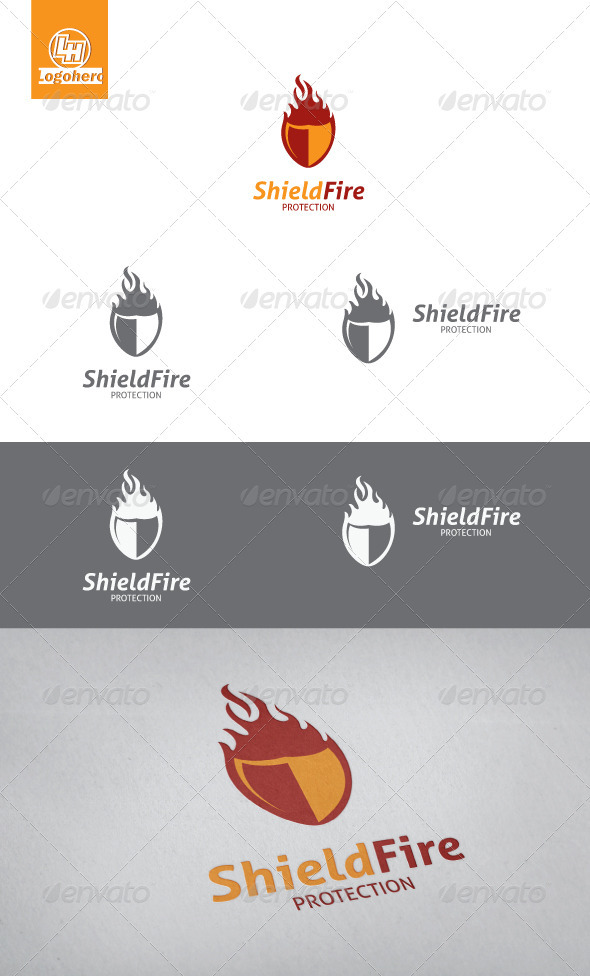 Shield Fire Logo Template