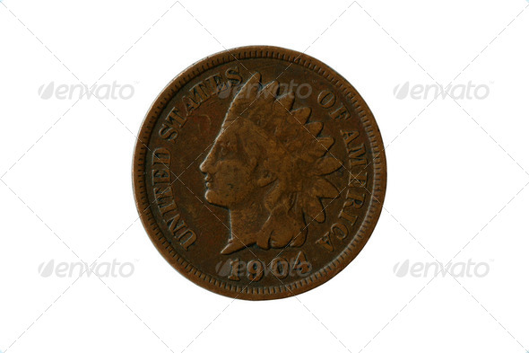 Indian head penny - Stock Photo - Images