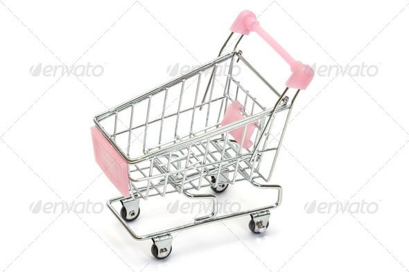 Pink shopping cart on white - Stock Photo - Images