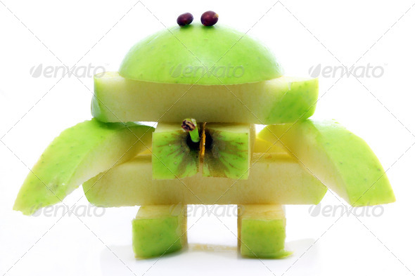 Friendly apple monster made from one apple - Stock Photo - Images