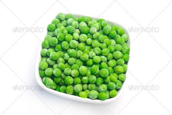 fresh green peas in a white pot isolated on a white background. Studio photo - Stock Photo - Images