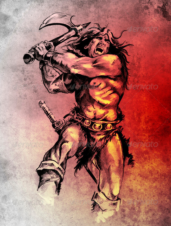 Sketch of tattoo art, warrior fighting with big axe - Stock Photo - Images