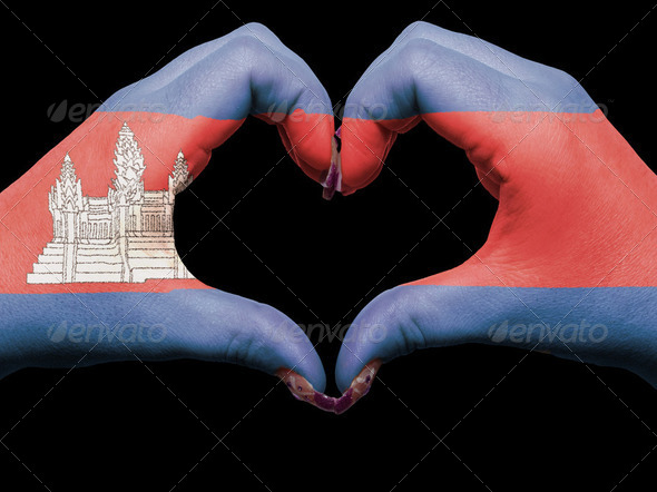 Heart and love gesture by hands colored in cambodia flag  for to - Stock Photo - Images