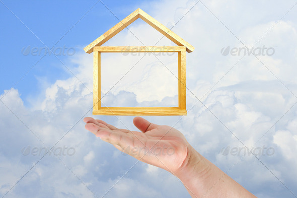 hand touch home model - Stock Photo - Images