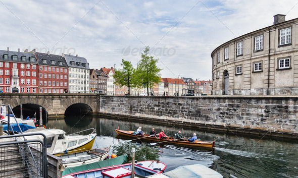 Frederiksholms Canal in Copenhagen in Denmark - Stock Photo - Images