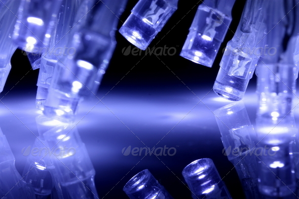 BlCool blue LED lights closeup with reflection - Stock Photo - Images