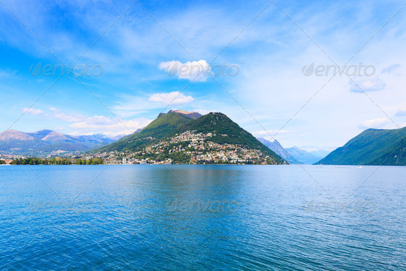 Lugano Lake landscape. City and mountains. Ticino, Swiss, Europe. - Stock Photo - Images