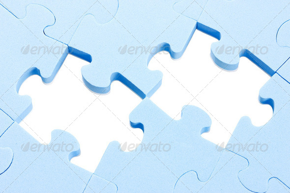 Puzzle Background With Two Missing Pieces - Stock Photo - Images