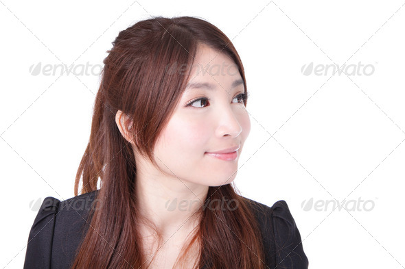 Business woman look to copy space - Stock Photo - Images