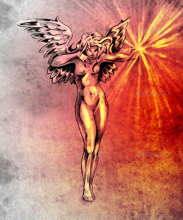 Sketch of tattoo art, fairy angel, nude woman over colorful pape - Stock Photo - Images